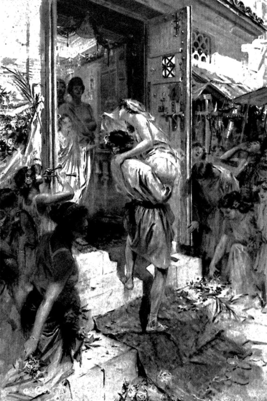 La esposa entra en su nueva casa en brazos de su esposo. Dibujo de André Castaigne.